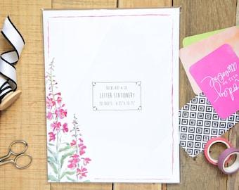 20 Sheets - Letter Size - Fireweed Stationary - Alaskan Fireweed Stationary -Floral Paper - 8.25x10.75 Size -Wildflower Design -Letter Paper