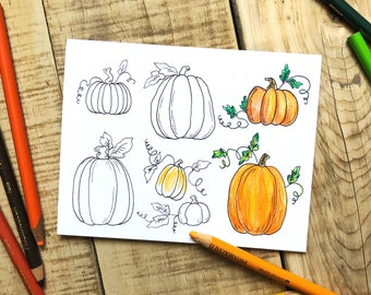 Set of 6 - Fall Coloring Cards -Coloring Card Set -Autumn Card Set -A2 Sized Cards -Color It Yourself Cards - Multi Design Card Set - Cards