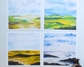 The Four Seasons in Watercolor - Midwest Four Seasons - Set of 4 Square Art Prints - Watercolor Artwork -Set of 4, 10x10 Prints -Wall Prints