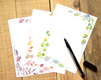 Watercolor Leaf Notepad - 75 Pages, Design on Every Page - 3 Designs - Autumn Leaf Notepad - Everyday Notepad - Pretty Original Stationery
