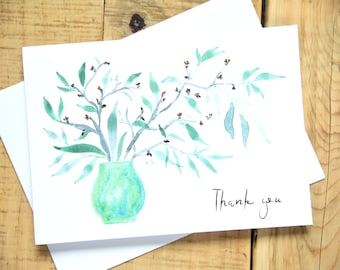 Set of 6 - Green Thank You Floral Greeting Card Set - Vase Greeting Cards -Greenery Arrangement Greeting Cards - Notecard - Watercolor Cards