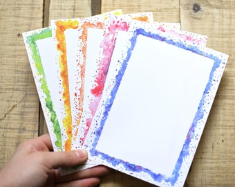 75 Page Stationary - Watercolor Splash Notepad - 5x7 Notepad - Original Notepad Design - Hand-painted - Everyday Stationary - Cheerful Card