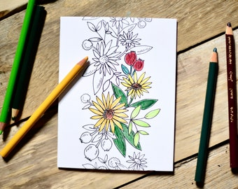 Set of 5, A7 size - Color It Yourself Cards - 5 Different Designs - Floral Coloring Cards - Original Art - Coloring Cards - Floral Cards