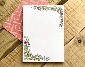 Sunflower Whimsy Notepad - 75 Page Notepad - 5x7 - Autumn Floral Stationary - Pomegranate & Floral Notepad
