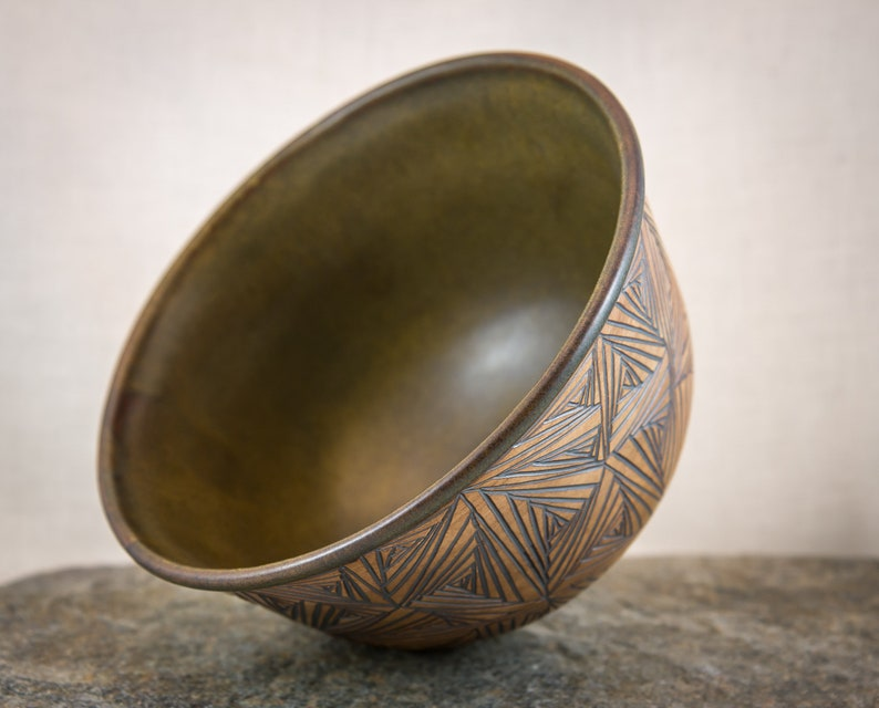 Hand Stained and Glazed Finish Earthy Hand Carved Ceramic Bowl Uniquely Designed Pottery Bowl Wheel Thrown One of a Kind Stoneware