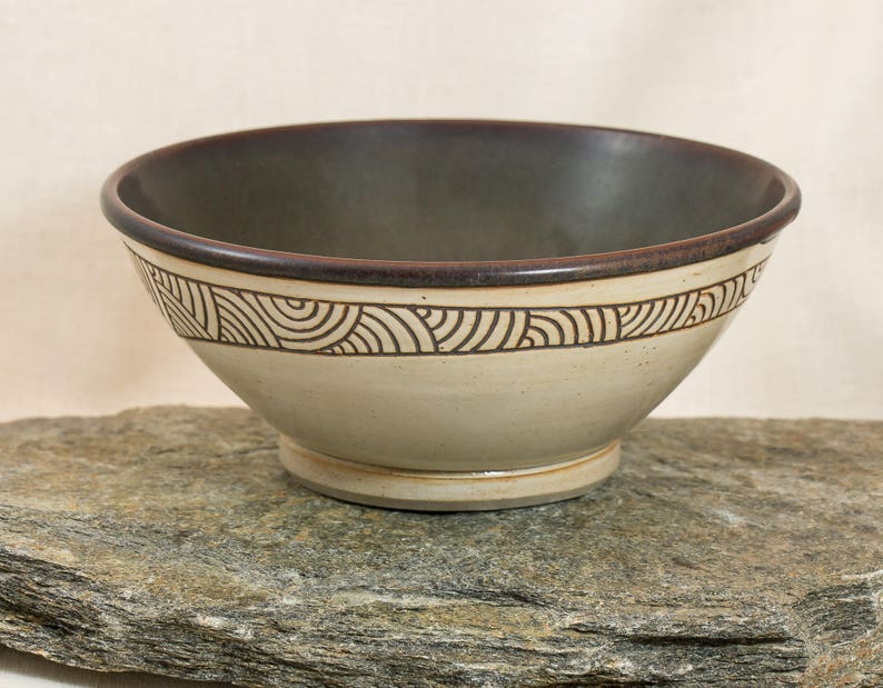 Richly Glazed in Brown and Off-white Small Serving Bowl Uniquely Designed Bowl Hand Carved Ceramic Bowl Hand Made Pottery Bowl
