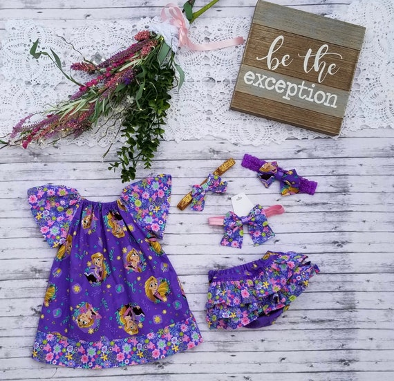 Dress Tangled 5 Piece Outfit 3-9 months Ruffled Bloomers /& 3 Headbands Disney Princess Outfit LIMITED EDITION Bloomers Rapunzel