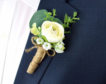 Father of the Bride Groom Father of the Groom Wedding Cream and Champagne and Gold Boutonni\u00e8re Bestman Fabric Flowers Grandpa