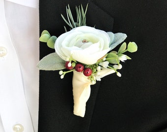 BOXED Modern Natural Peacock Feather with a Special Metallic Silver and Black Trim Boutonniere MATCHING Corsages  Hair Pin