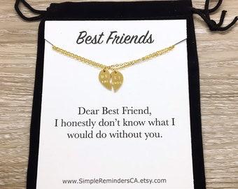 Split Hearts Necklace Friendship Set For 2 Half Heart Pendant Best Friends Gift Minimalist BFF Jewelry Birthday