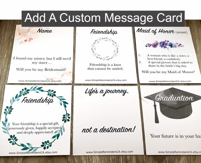 Add On Custom Message Card Personalized Jewelry Gifts image 0