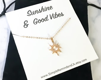 Good Vibes Necklace, Sunshine, Gold Sun Necklace, Gift Ideas, Dainty Necklace, Gifts for Her, Birthday, Bestfriends, Simple Reminder, Gifts