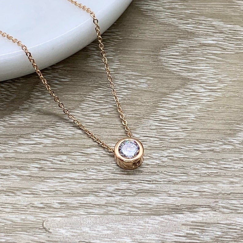 Gift for Friend Rose Gold Solitaire Pendant Unbiological Sister Jewelry Tiny Round Crystal Necklace Friendship Gift Bonus Sister Gift