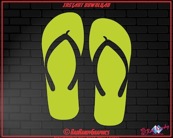 Flip Flops, Cut Files, EPS, SVG, Png, Vector