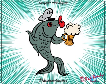 Beer Fish, Design Elements, Cut Files, Eps, Svg, Png, Vector