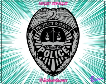Police Badge, Design Elements,Cut Files, Eps, Svg, Png, Vector