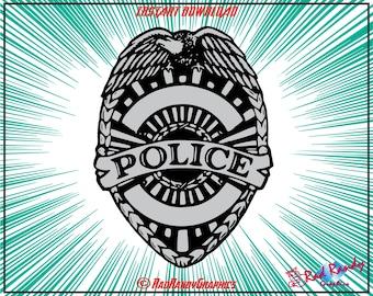 Police Badge, Design Elements, Cut Files, Eps, Svg, Png, Vector
