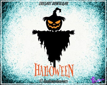 Halloween Pumpkin Scarecrow, Cut Files, EPS, SVG, PNG, Vector