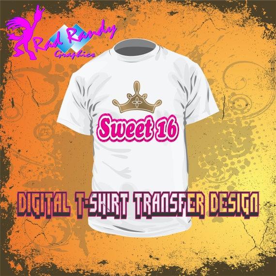 Sweet 16 T Shirt Transfer Design Pdf Png Jpg Instant Etsy