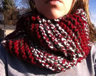 Red white and green chunky hand knit infinity scarf SALE
