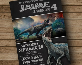 Jurassic World Invitation Birthday Wold Party Card Park