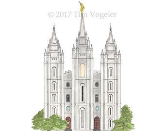 Salt Lake LDS (Mormon) Temple Watercolor Print