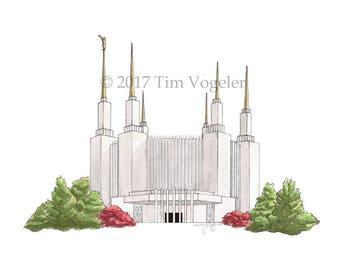 Washington D.C. LDS (Mormon) Temple Watercolor Print