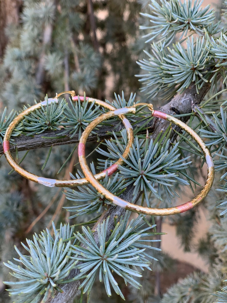 Tres oros  hoops Tricolor hoops chapa de oro Gold Plated Jewelry hoops