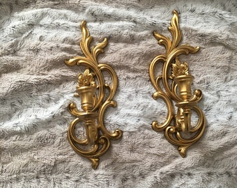 Set of two Gold Syroco Wall Hanging Candle Holder Sconces
