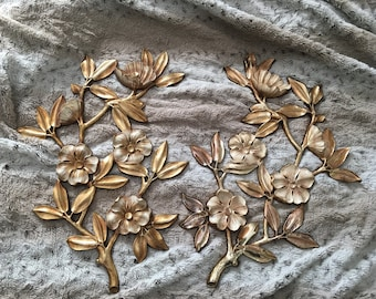 Vintage Set of 2 Syroco Gold Dogwood Wall Hangings