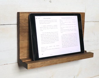 Wall Mount Tablet Shelf, Toasty Brown iPad Holder, Wall Mounted Stand for iPad, Tablet Stand to Mount on Wall, Wood Shelf to Store Tablet
