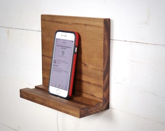 Wall Mount Phone Stand, Cell Phone Holder, Charging Station, Tablet Holder, Small Shelf for Phone, Small Tablet Stand, Phone Accessories