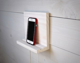 White Phone Stand, Wall Mount Cell Phone Holder, Small Phone Shelf, Tablet Holder, Charging Station, Phone Accessories Charging Dock