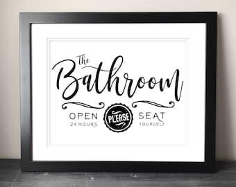 Farmhouse Bathroom Sign Printable, Funny Bathroom Printable Art, Vintage Style Restroom Art or DIY Project Ideas