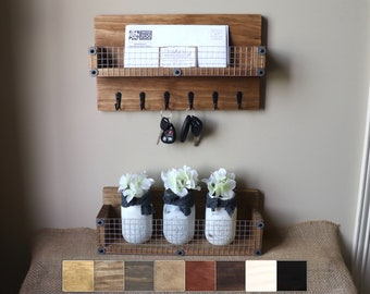 Wall Organizer Set, Rustic Organizer Command Center, Key Rack with Shelf and Wood Box Shelf, Farmhouse Key Holder, Wall Shelf with Ledge