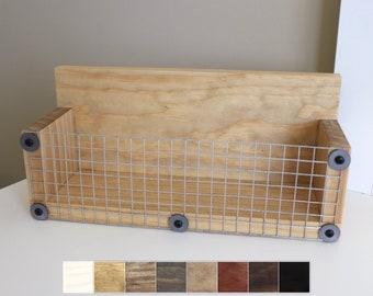 Small Wood Box Shelf, Farmhouse Shelf, Wood Wall Box, Small Wood Shelf, Bathroom Decor, Spice Rack, Mail Holder, Wall Storage Basket Shelf