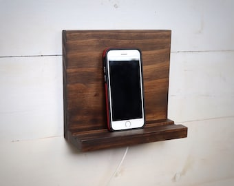 Phone Stand, Wall Mount Cell Phone Holder, Coffee Brown Tablet Holder, Charging Station, Small Phone Shelf, Phone Accessories Charging Dock