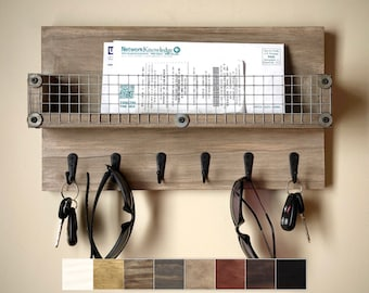 """16"""" Rustic Key Holder for Wall with Mail Slot, Wood & Chicken Wire / Wall Organizer with Hooks and Mail Holder"""