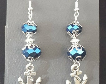 Beautiful Blue Anchor Earrings