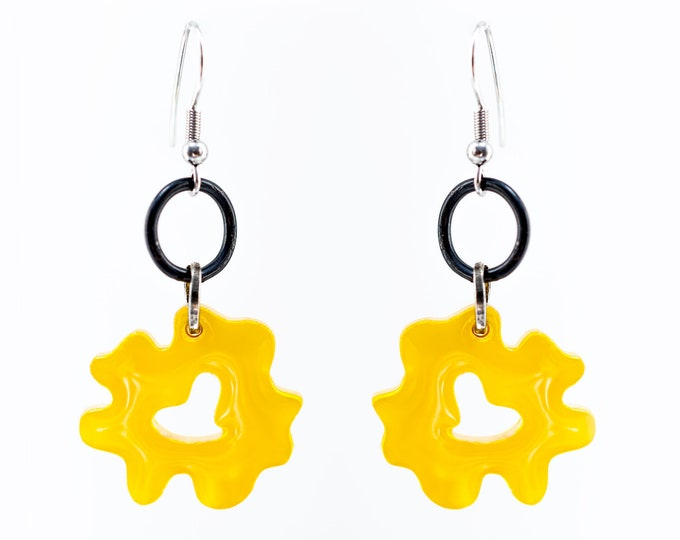 Yellow Flower Earrings made from upcycled plastic scraps