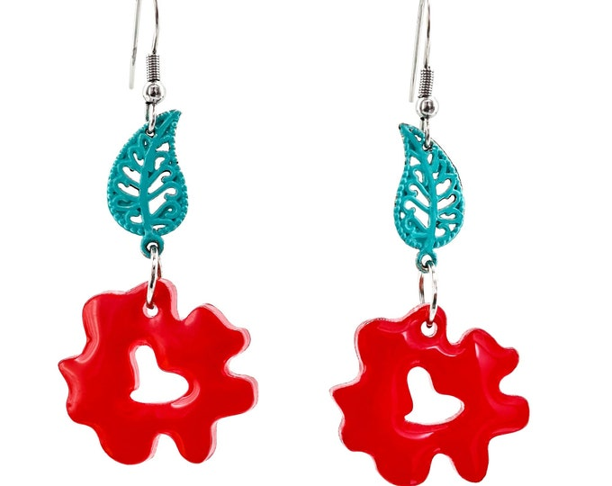 Red Flowers. Red Earrings. Flower Earrings.  Hand made. Recycled plastic scraps.