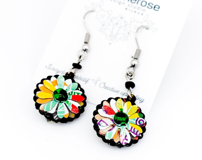 Daisy dangle earrings, colored earrings, recycled soda can daisy pendants, sunflower earrings, multicolor daisy Mother's Day earrings