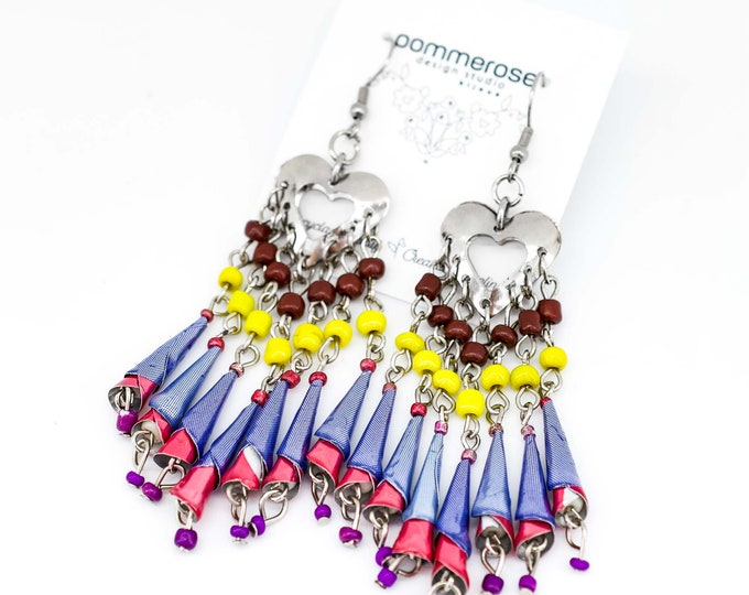 Bohemian-style earrings, recycled soda can jewelry, eco-friendly jewelry, gift for women.