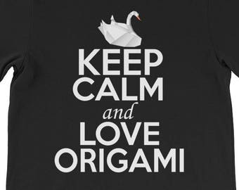 442570a9 Keep Calm and Love Origami, Origami Lover Shirt, Origami T-Shirt, Origami  Cranes Tee, Traditional Origami Shirt, Paper Folding T-Shirt