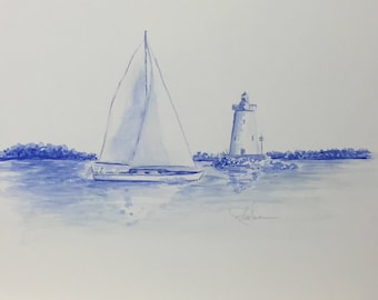 Sailboat and lighthouse1 - Original Watercolor
