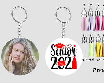 Personalized Senior 2021 Photo Keychain