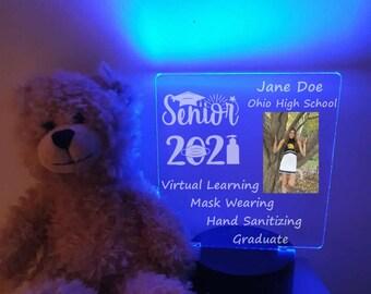 Personalized Senior 2021 Pandemic Photo Square led Light