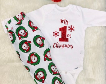 My First Christmas pajamas for boys for girls - 3 piece one price - Babys  pajamas - Christmas gift - Name will be added without any cost 59d9a1d6d