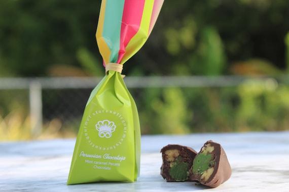 chocolate caramel gourmet bonbon pecans Peruvian in an Eco Friendly Container Box of 5 Handmade Coffe Chocotejas