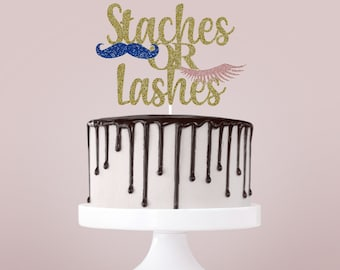 Staches or Lashes Cake Topper, Gender Reveal Cake Topper, Gender Reveal Party Decorations, Boy or Girl Theme Party, Gender Reveal Cake Sign